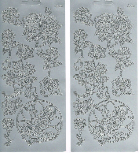 2 SHEETS ROSES SILVER ASSORTED ROSES 171 PEEL OFF STICKERS