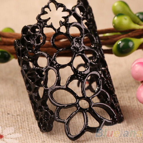 Women Fashion Hollow Flower Alloy Opening Wide Cuff Style Ring Black/Gold BA2A
