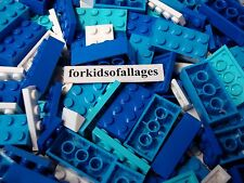 50 Lego Bricks, Plates Blue, Azure, White Sea/Ocean/Water Bulk Parts/Pieces Lot