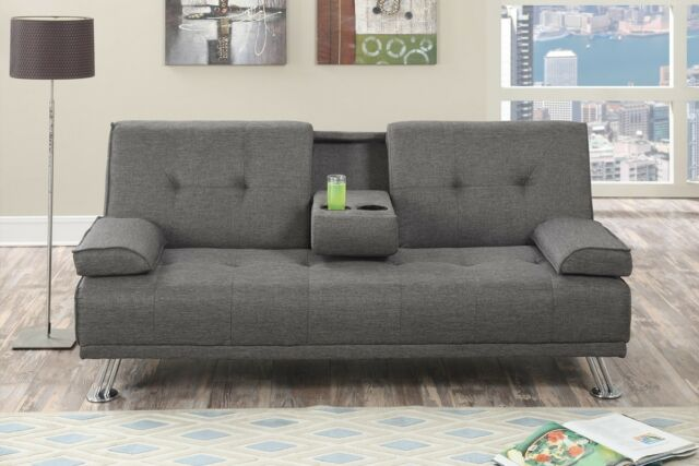 Slate Gray Linen Fabric Futon Sofa