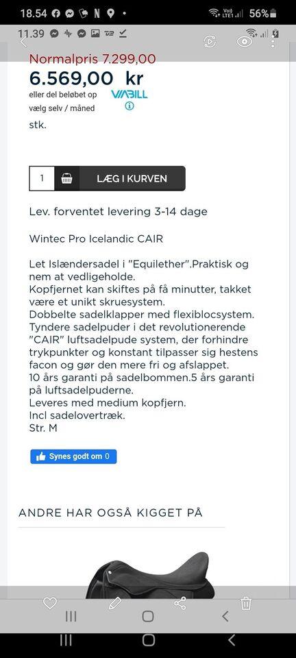 Islændersadel, 17,5 tommer , Wintec pro icelandic CAIR