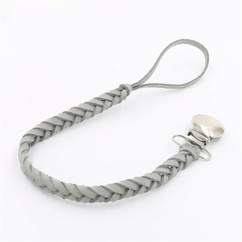 Infant Dummy Clip Outdoor Anti-lost Leather Braided Pacifier Chain Baby Feeding