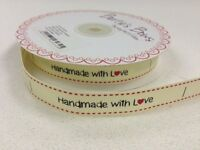 """5m Bertie's Bows Ivory """"Handmade with Love"""" Labels 16mm Grosgrain, Craft"""