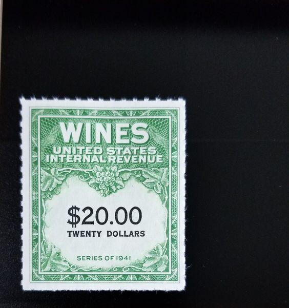 1949 $20 U.S. Internal Revenue Cordial & Wine, Green Sc