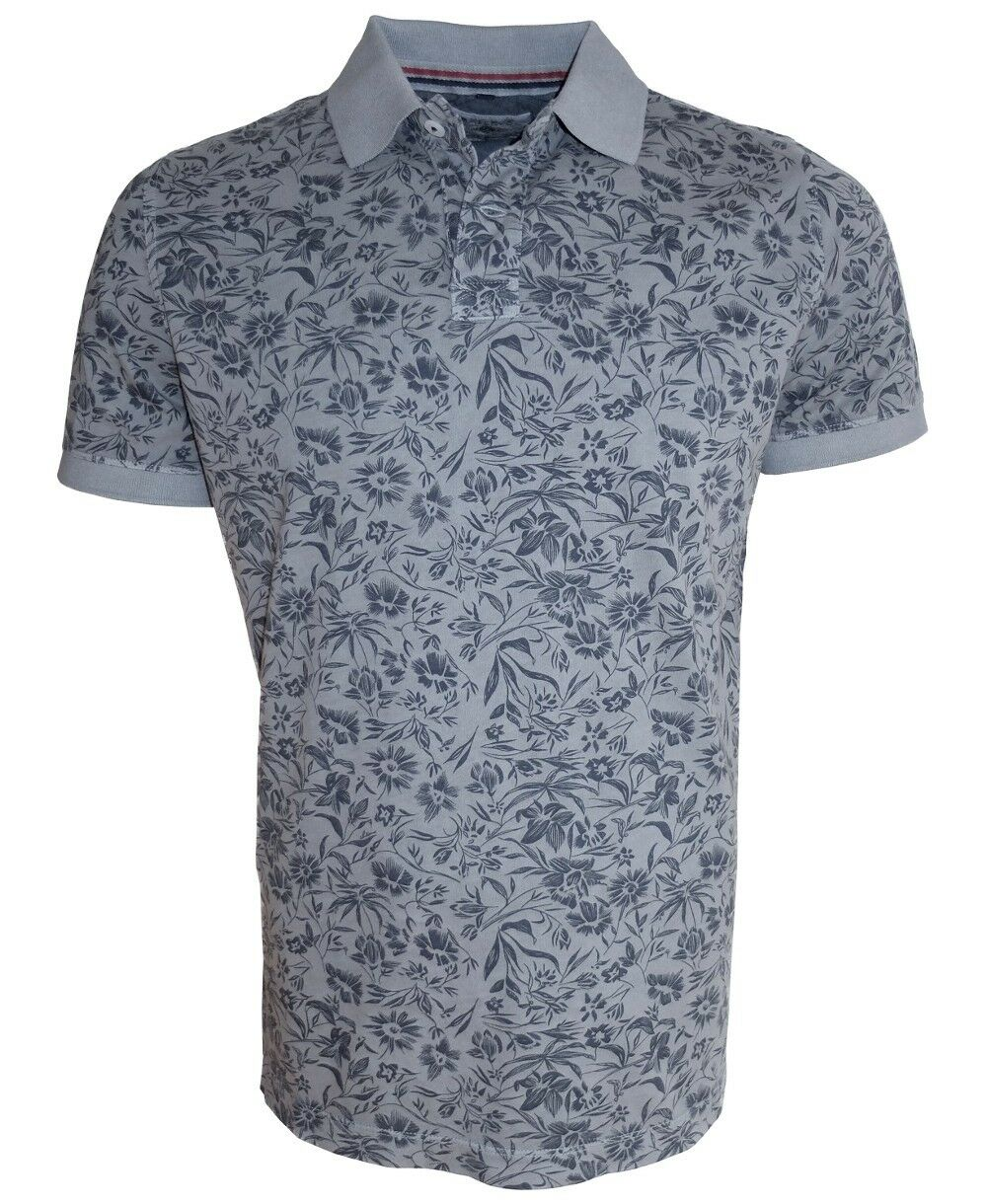 Baileys Polo Shirt in grey mit Floraldessin in black Gr. M bis 6XL