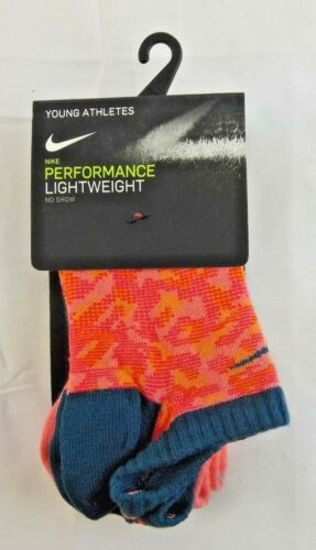 3Y-5Y NWT 3 Pair Nike Graphic Cotton Lightweight Girl/'s No‑Show Socks