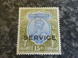 INDIA-POSTAGE-SERVICE-STAMP-SG095-15R-BLUE-OLIVE-1913-MOUNTED-MINT