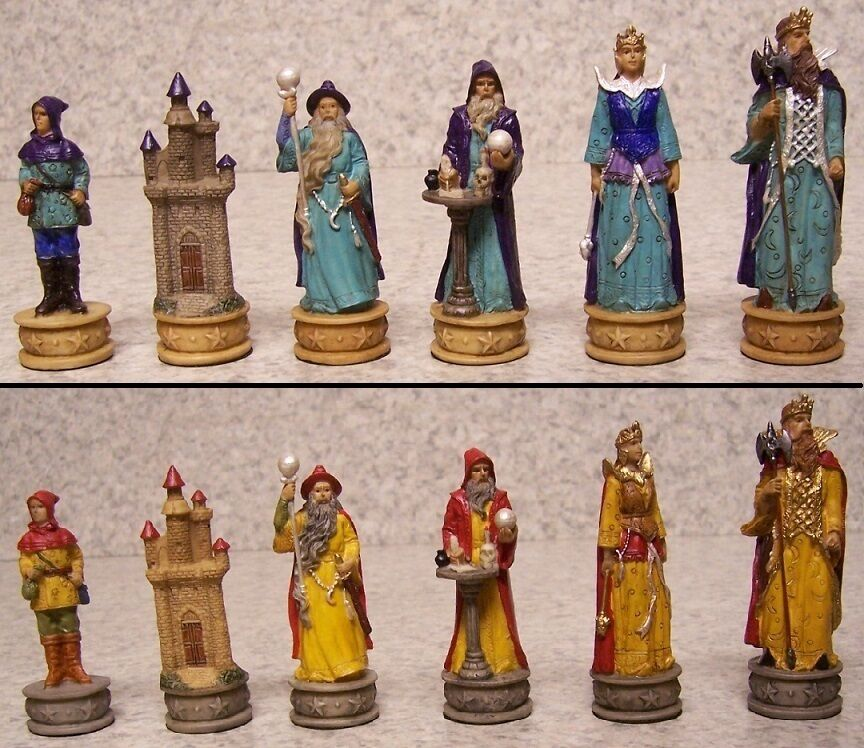 Chess set pieces Fantasy Sorciers magiciens NEUF 3 1 4  rois