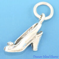 Cinderella Open Toe Slingback High Heel Shoe 3d .925 Solid Sterling Silver Charm