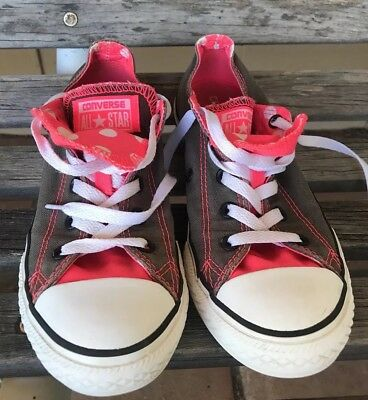 CONVERSE ALL STAR DOUBLE TONGUE Gray With Pink POLKA DOT SNEAKERS SHOES 3 Girls | eBay