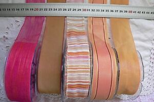 PINK-amp-ANTIQUE-GOLD-Polyester-amp-Sheer-38mmWide-2-amp-3-Metres-5-Design-Style-Choice