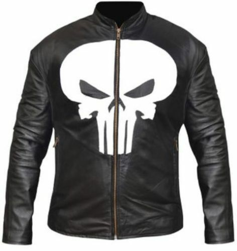Men/'s Punisher Embossed Skull Emblem Black Biker Faux Leather Jacket