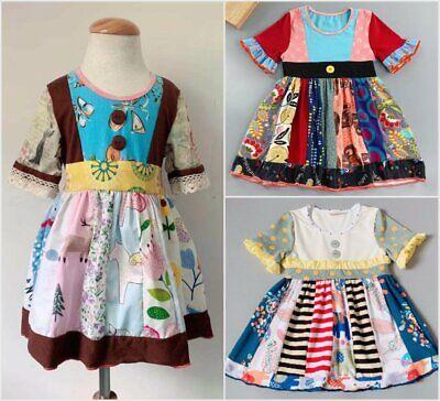 NEW Girls Boutique Multi Print Elephant Long Sleeve Ruffle Dress 3-4 5-6 6-7 7-8