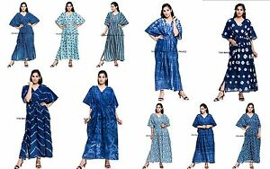 Indian-Long-Kaftan-dress-Hippy-Boho-Maxi-Plus-Size-Women-Caftan-Indigo-Blue
