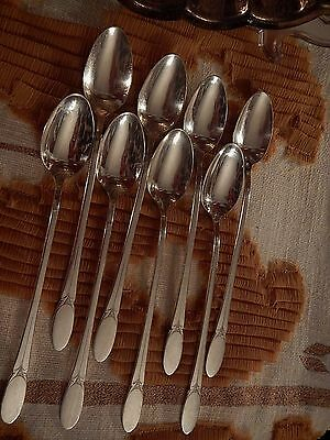 1847 Rogers Bros Sylvia silverplate 8 iced tea spoons EXCELLENT