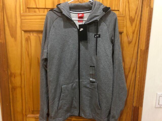 NIKE Sportswear Modern Men's Full Zip Hoodie Carbon Heather Grey SIZE M