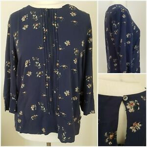 Laura-Ashley-Womens-Navy-Blue-Black-Red-Floral-Blouse-Top-14-Autumn-Spring