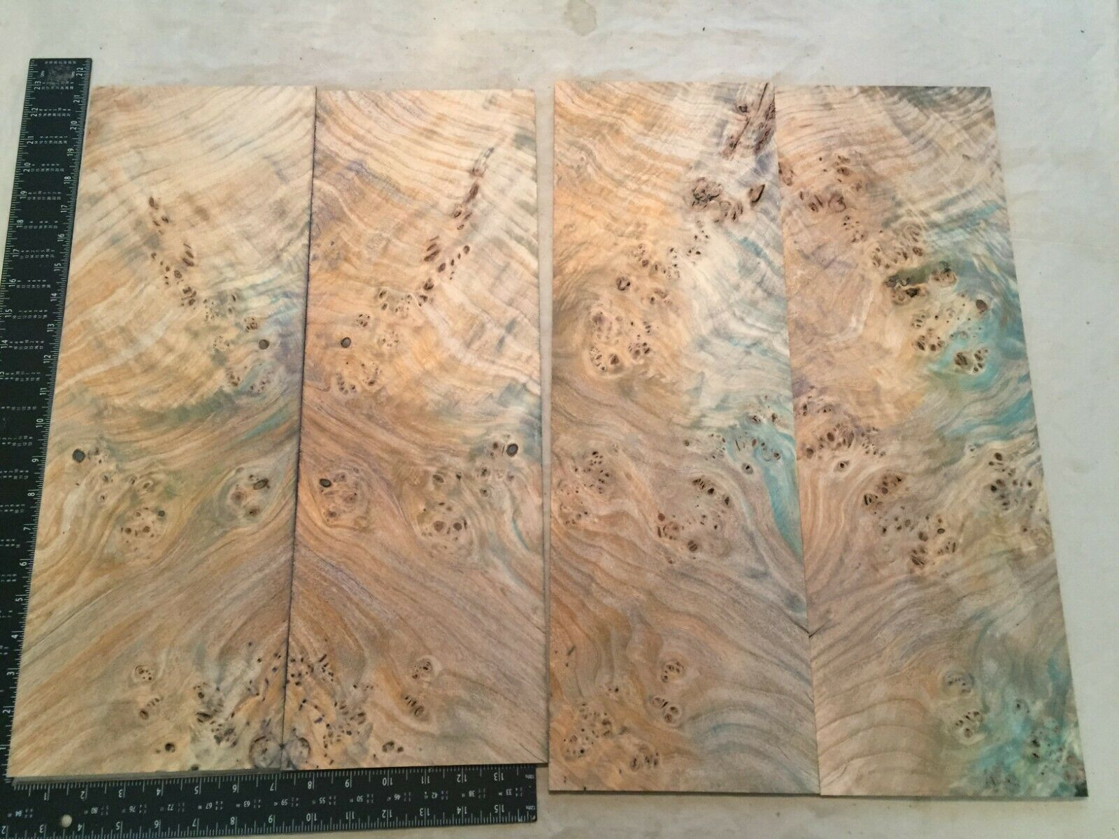 Poplar Burl Dyed Bookmatch Sets Musical Luthier wood .20 x 14-15 x 21-22    EP 8