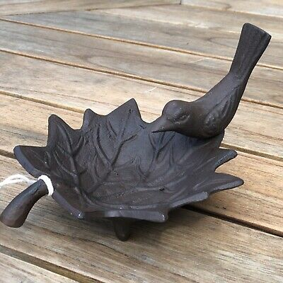 Style Vintage Feuille en fonte forme baignoire Oiseaux Mangeoire Robin Oiseaux Jardin Extérieur
