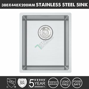 380x440mm 304 Stainless Steel Single Laundry Kitchen Sink Top/Undermount PICK UP