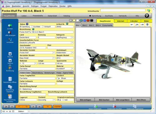 Software Programm zur Verwaltung Ihrer Sammlung GS Flugzeugmodell-Verwaltung 2