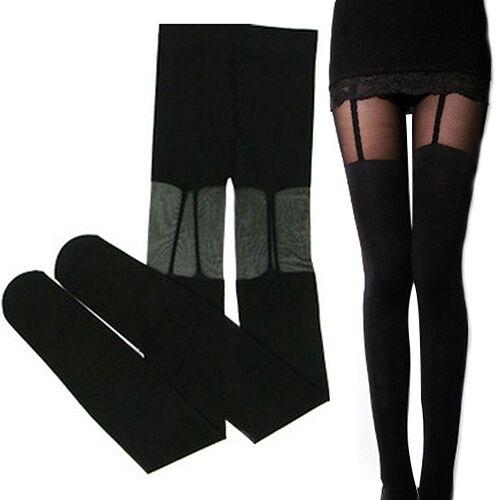 NEW LADY PRETTY SEXY STRETCHY STOCKINGS BLACK LEGGINGS SOCKS/W DECORATED GARTERS