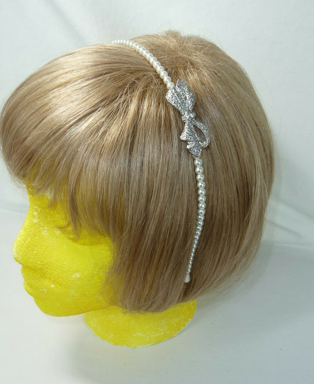 Headband Delicate Faux Pearl and Rhinestone Bow Wedding Pageant Prom USA Seller