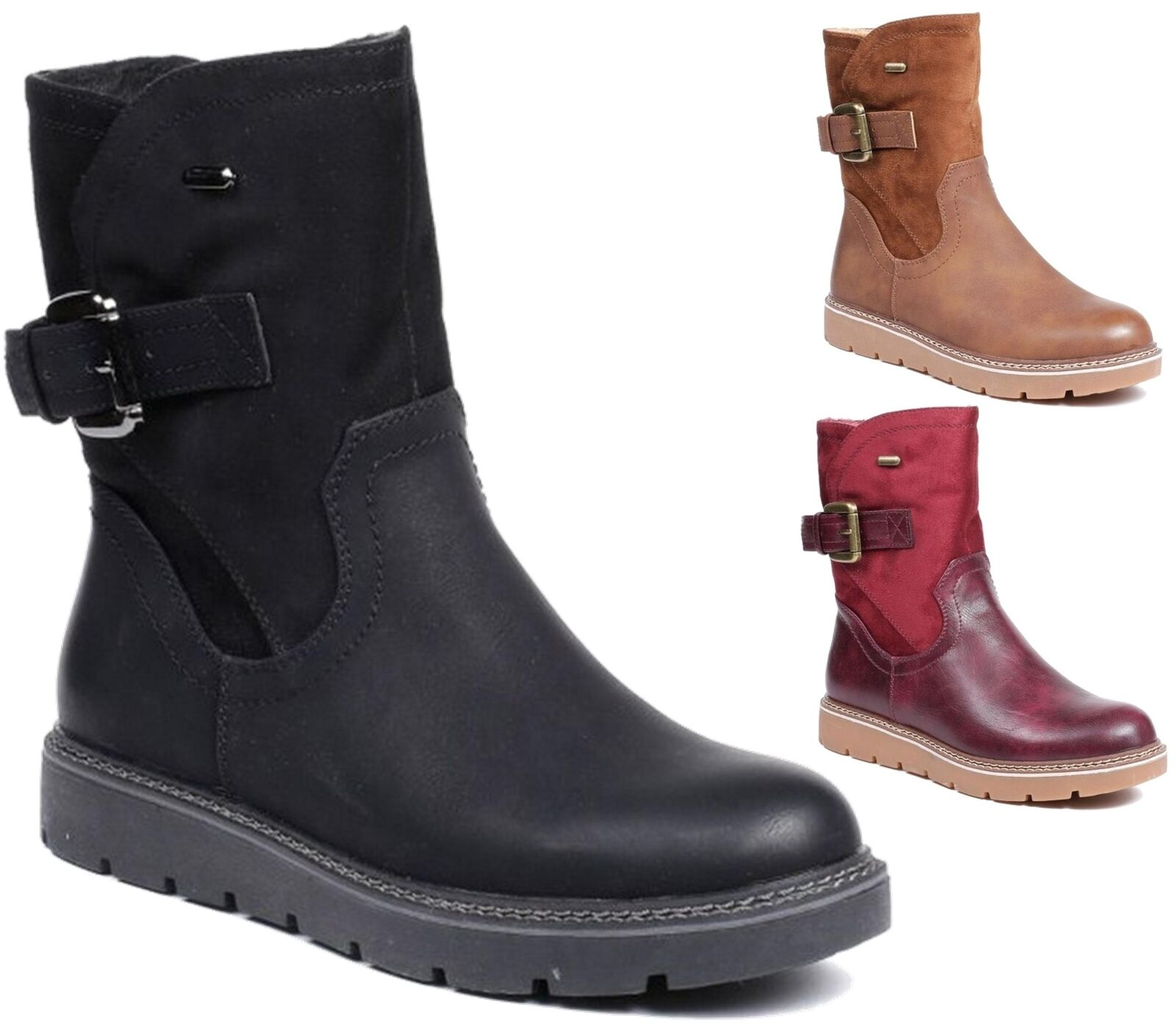 Ladies Womens New Faux Leather Mid Calf Low Flat Heel Slouch Riding Boots shoes