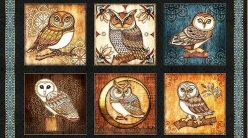 """OWL OWLS QUILTING TREASURE FABRIC WHERE THE WISE THING PICTURE PATCHES 23/""""x44/"""""""