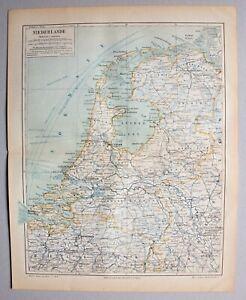 Niederlande - Alte Landkarte - Lithographie 1898