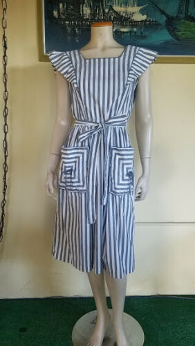 Vtg 40s 50s Prison Stripe Swirl Wrap House day Ruf