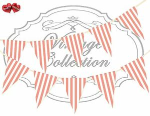 Vintage-Collection-Candy-Coral-and-White-Stripes-Themed-Bunting-Banner-15-flags
