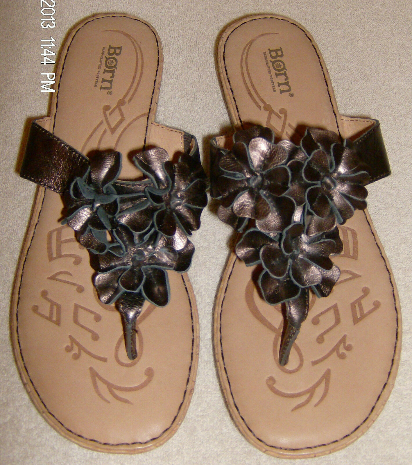 Ladies Born shoes Kimona Brown Size 11M New in Box Leather Flowers Musical Sole