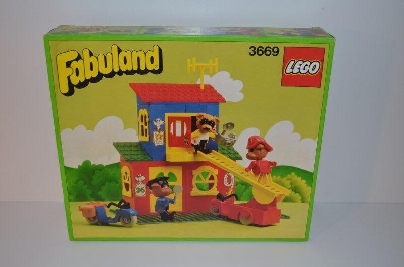 Lego Fabuland Fire & Police Station 3669 BOX + INLAY & PLAN - 100% compl (01368)