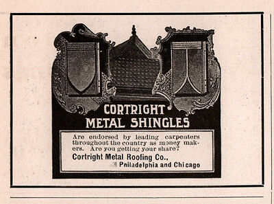 Ad Lot Of 6 1905 1917a Ads Cortright Metal Roofing Co