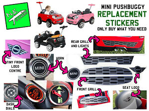 Details Zu Kids Mini Cooper Pushbuggy Replacement Stickers Horn Dash Dials Seat Logo Grills