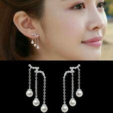 #1100 Silver plated three long tassel Imitation pearl earrings