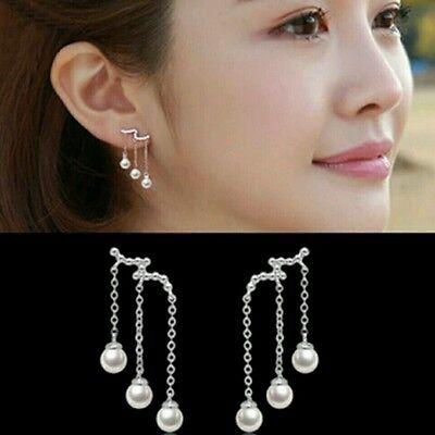 Silver plated three long tassel Imitation pearl earrings