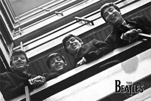 The-Beatles-Balcony-B-amp-W-POSTER-60x90cm-NEW-John-Lennon-Paul-George-looking-down
