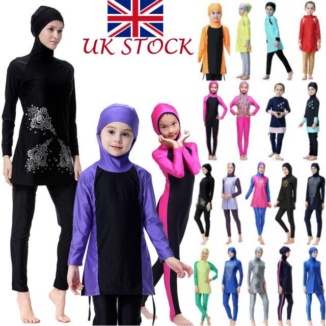 Baby Kinder Mädchen Muslim Badeanzug Islamisch Voll Hülle Bademode Burkini Set