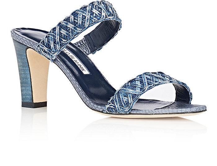 NEW Manolo Blahnik GERAS Denim SNAKE Slide Sandal Navy Block Heels shoes 41