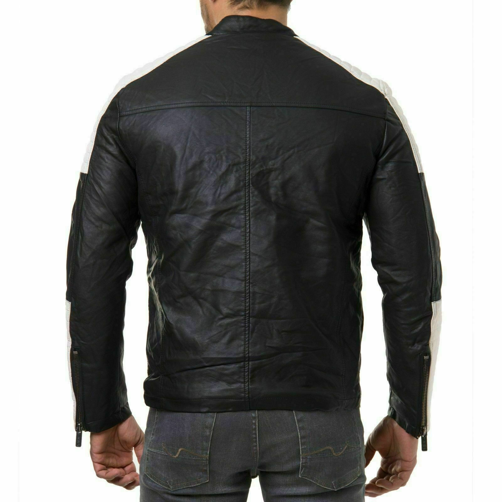 Mens Black Soft Stylish Genuine Leather Biker Motorcycl