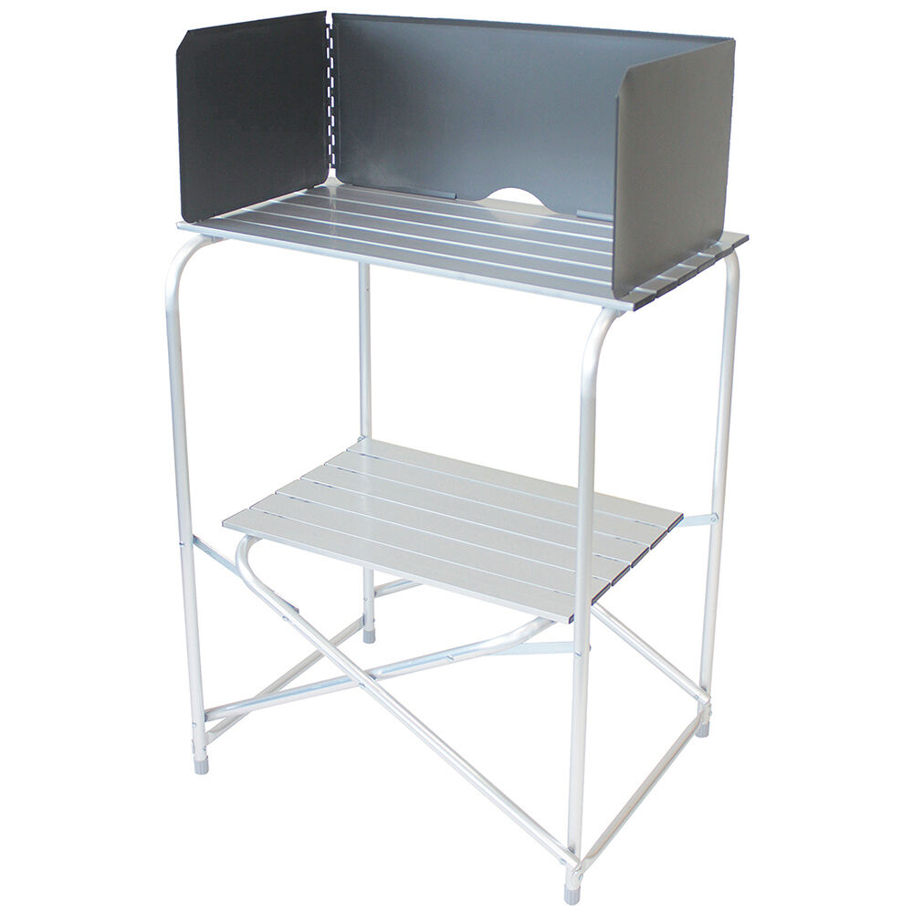 OUTDOOR KITCHEN STAND WITH WINDSHIELD CAMPING COOKING  PICNIC
