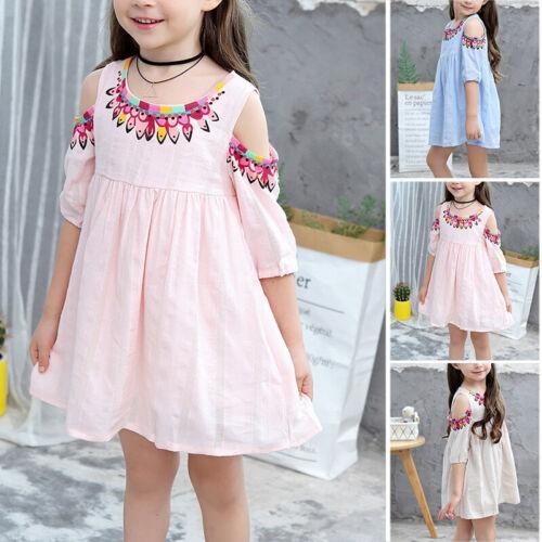 Kleid Blume gedruckt Kinder Off-Schulter Baumwollmischungen Rundhalsausschnitt