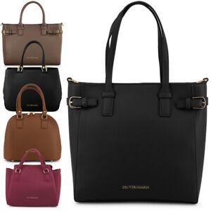 Borse donna TRUSSARDI borsa a mano tracolla pelle nera shopping bag