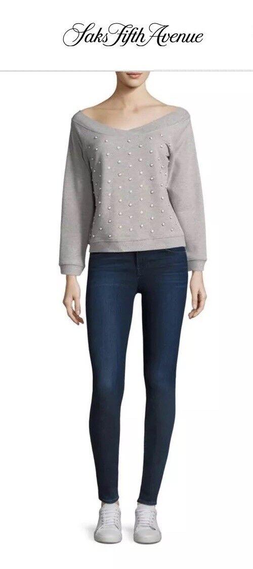 Rebecca Minkoff Macey Pearl Embellished Off Shoulder Sweatshirt Small