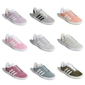 Details about New Adidas Originals Gazelle Women Suede Fashion Shoe Pink White Sneaker Trainer