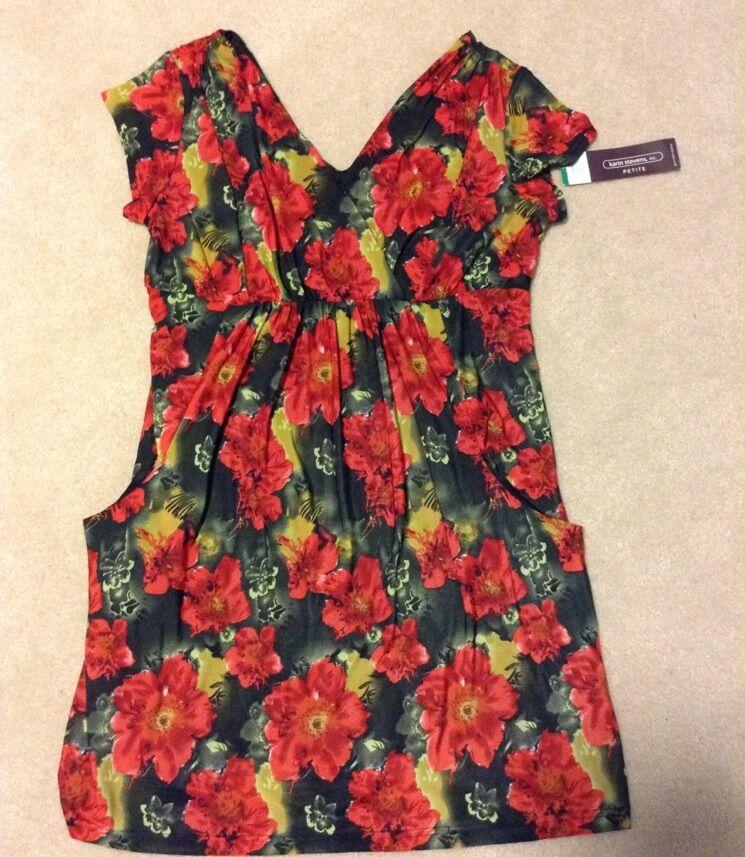 Karin Stevens, Inc. Petite Floral Print Wrap Dress Sz 10 P New
