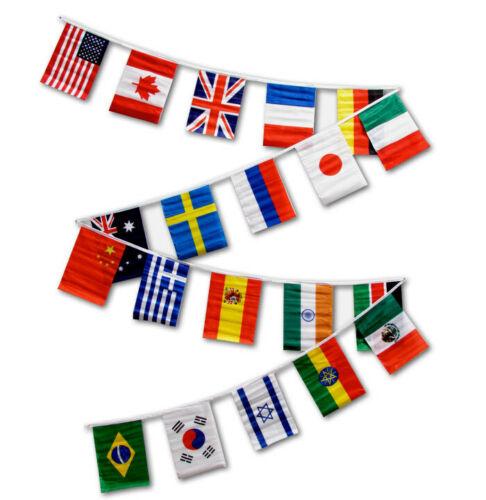 International Countries String Flag Bunting Classroom Decor Pendants 30ft 12x18