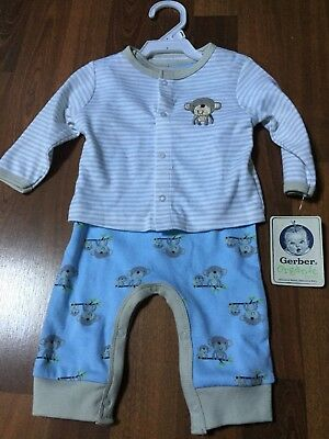 2 total sets Gerber Baby Boys each 3 Piece Outfit Size 0-3 Months Monkey NEW